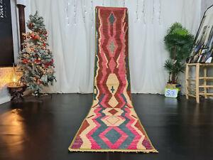 """Boujad Moroccan Handmade Vintage Runner Rug 2'3""""x11'5"""" Geometric Pink Berber Rug"""