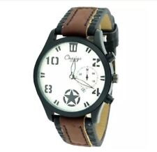DOOKA Chaxigo Men's Military Style Army Leather Strap Watch 2016-1 (Brown/White)