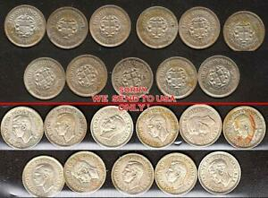 👉 Great Britain 1930's GEORG VI x11 SILVER  3 pence coins READ GOOD not CLEANED