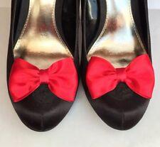 Zapato De Moño Rojo Clips Para Zapatos Clips Raso Pinup Retro Rockabilly Burlesque Reino Unido HM