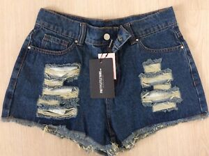 Pretty Little Thing Size 10 Denim Hot Pants New with tags