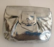 JUICY COUTURE METALLIC SILVER CRACKLED LEATHER CLUTCH HANDBAG PRE-OWNED