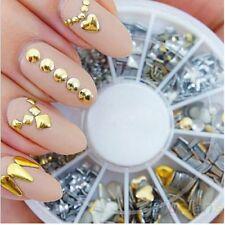 260PCS Punk Gold/Silver Glitter Metal Nail Art Decor Rhinestone Tips Rivet Studs