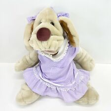 "Vintage Wrinkles Dog GanzBros Hand Puppet 18"" Plush Girl In Dress Puppy Stuffed"
