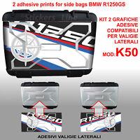2 adesivi valigie LATERALI BMW R1250GS HP rosa dei venti K50 dal 2013