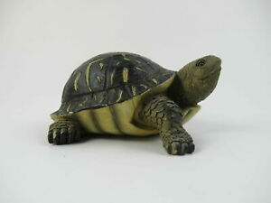 "Vintage Lifelike Handprinted Resin 4 1/2"" Turtle Paper Brown Handmade Figurine"