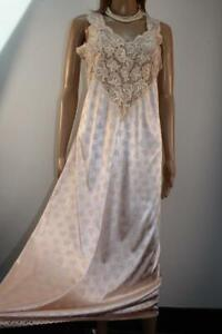 VTG PEACH FLORAL GLOSSY LIQUID SATIN & LACE NIGHTDRESS, SIZE 18-20 LONG