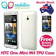 Clear Jelly TPU GEL iSkin Case Cover for HTC One Mini M4 Screen Protector