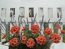 Outdoor Fall Window Box Silk Orange Geraniums Lavender Arrangement Flower Garden