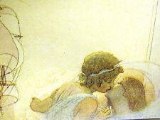 Cayley Robinson YOUNG BOY GIRL KISSING GOOD-BYE SAILING SHIP 1911 Print Matted