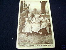 """FUNNY OLD PPC~""""I'LL HAVE A GOOD TIME HERE""""~ca 1912"""