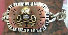 1940s-1950s Mexican Illuminati Skull Novelty Bracelet Vintage Mexican Rockabilly