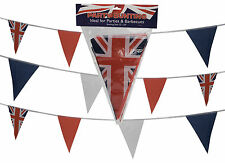 ROYAL WEDDING BUNTING FLAGS Fabric Red White Blue Prince Harry Meghan UNION JACK