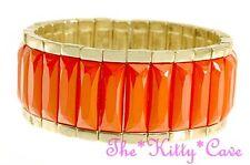 Bright Orange Chic Gold Geometric Bars Feature Statement Stretchy Bracelet Cuff