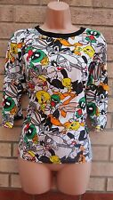 Primark Multi Looney Tunes Duck Rabbit Rockabilly T Shirt Tunic Top Blouse 10