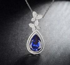 585er Weiß gold 2,15KT Natürlich blau Tansanit EGL Zertifiziert Diamant Anhänger