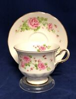 "Vintage England Fine Bone China ""Pink Roses"" 1974 Avon Tea Cup and Saucer"