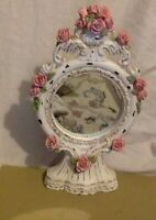 Vintage Standing Mirror. White & Pink Painted Wood. Early 1900's