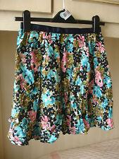 Topshop Floral Mini Skirt Multi Colour Size 8 100% Viscose