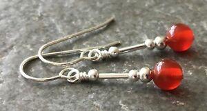Red Carnelian Gemstone & Sterling Silver Drop Earrings with Gift Box