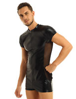 Mens Sexy Lingerie Patent Leather Wet Look Jumpsuit Bodysuit Clubwear Costume