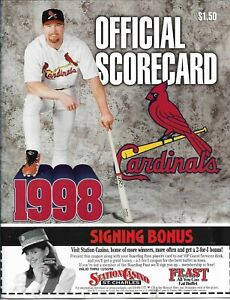 1998 St Louis Cardinals Official Scorecard v San Francisco Giants