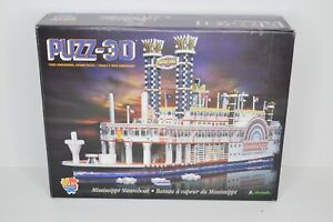Puzz 3D Jigsaw Puzzle Wrebbit Mississippi Steamboat 718 pc 1995 ALL PIECES!!