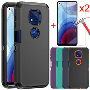Case For Motorola Moto G Power 2021 Defender Phone Cover+Glass Screen Protector