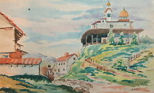 1958 Watercolor landscape drawing signed
