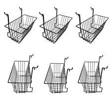 6 Pieces 12inx6inx6in Black Metal Wire Slatwall Gridwall Pegboard Deep Basket