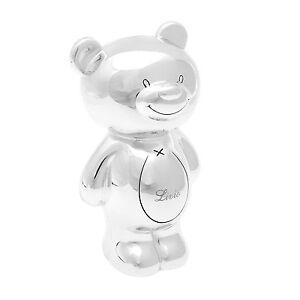 Spardose Bär versilbert Kindersparbüchse mit Wunschgravur Sparschwein Teddy