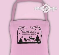 Personalised Any Name Christmas Grandma Kitchen Mum Festive Season Apron Pink