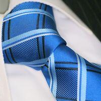Krawatte Krawatten Schlips Binder de Luxe Tie cravate 444 blau kariert