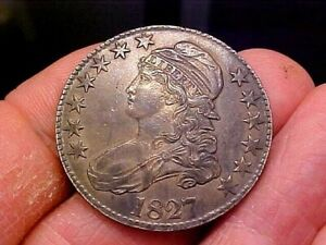 1827 Capped Bust Half Dollar 50c Lettered Edge, Original, UNCLEANED & Beautiful!