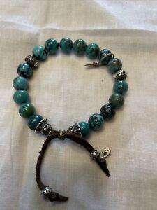 Authentic M. Cohen Handmade Designs Turquoise Beaded/ 925 Silver Bracelet