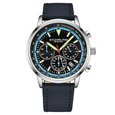 Stuhrling Muscle Movement Chronograph 9.5 mm Thin Leather Strap 44mm Men's Watch
