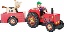 Toy tractor farmer cow push along preschool wooden toy gift farm tractor trailer