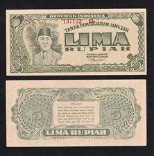 Indonesia Lima 5 Rupiah (1947) P21 Sukarno About UNC