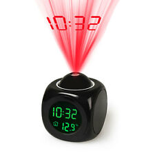 Digital Lcd Voice Talking Alarm Clock Led Projection Temperature Multi function