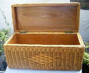 Vtg 70's Rare Boho Tiki Wicker Rattan Storage Blanket Box Trunk Table Ottoman