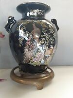 Vintage Golden Peacock Japanese double handle Vase black