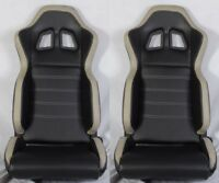 SLIDERS FOR HONDA 2 BLACK CLOTH RACING SEATS RECLINABLE