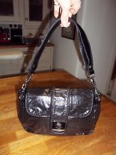 French Connection small soft black faux leather shoulder handbag