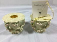 Wedded Bliss Doves & Lace Pair Taper Candle Holders Wedding Table Decor