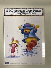 Winnie The Pooh & Piglet In Rain Set of 6 Prints & Cutting Guide for Decoupage