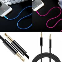 2x 3.5mm Braided Male to Male Stereo Audio AUX Cable Cord for PC iPod CAR iPhone
