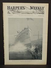 "Harper's Weekly Cover Page ""The Launch of the New Lake Steamer""  1895 A6#45"