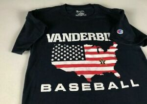 Vanderbilt Commodores Baseball T-Shirt Womens Small USA Flag Vandy Champion Tee
