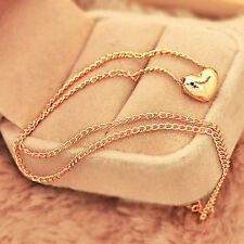 Pretty Gold Plated Heart Womens Bib Statement Chain Jewelry Pendant Necklace J6P