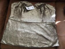 BNWT Next Size 6 Gold Sequin Strapless Top Bustier Rrp £50
